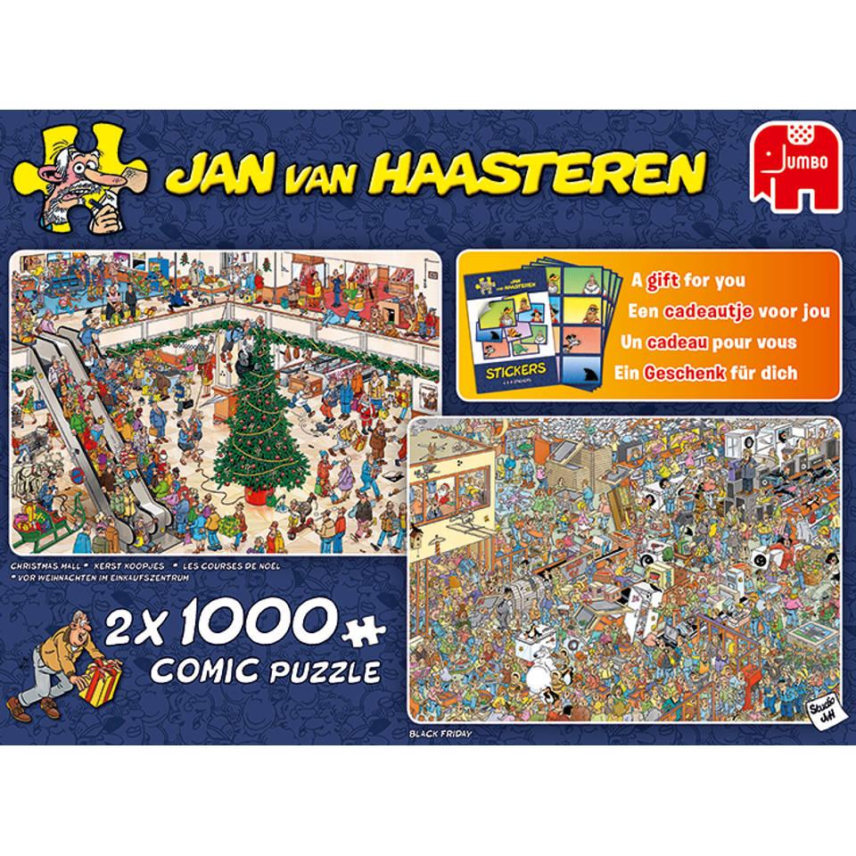 Jumbo Jan van Haasteren 2-in-1 puzzel Holiday shopping - 2 x 1000 stukjes