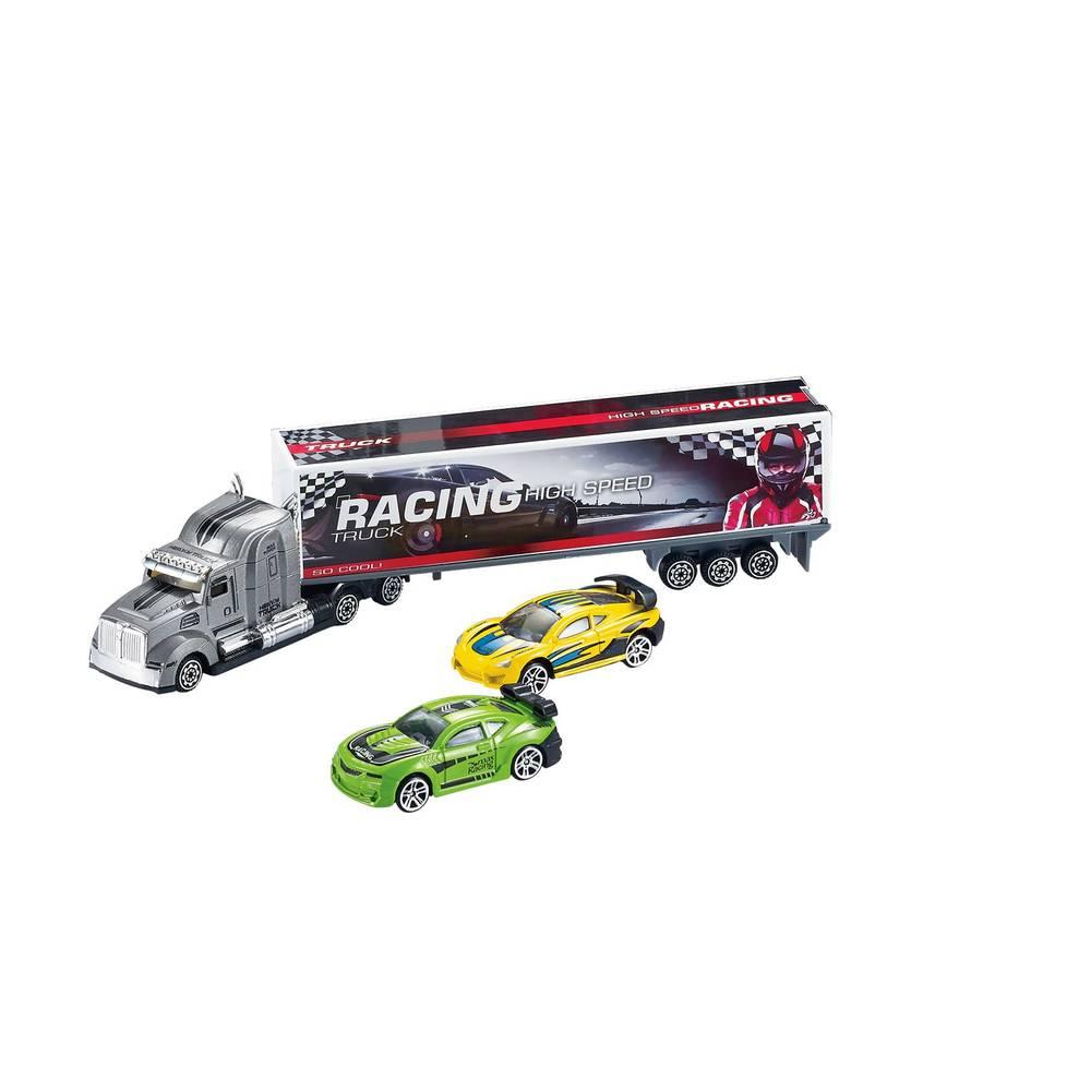Diecast trailertruck met 2 sportwagens