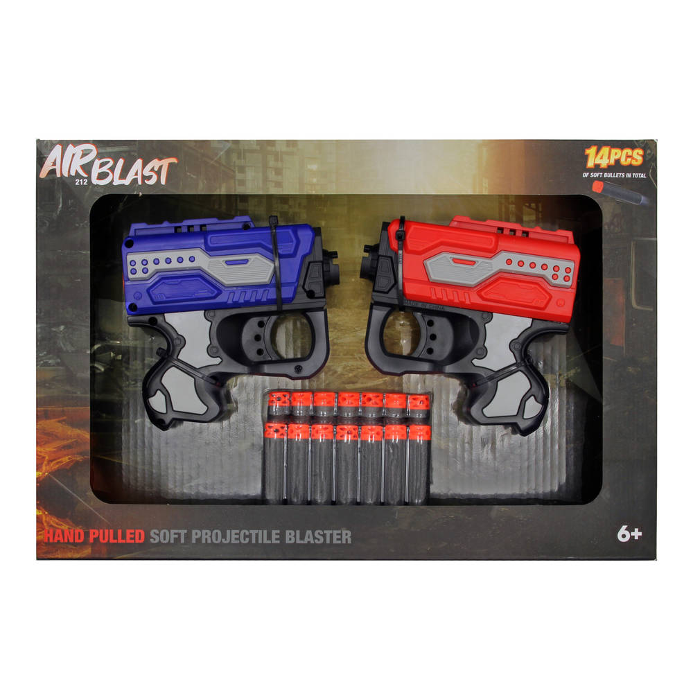 Dual Airblast softbullet blaster - 12 cm