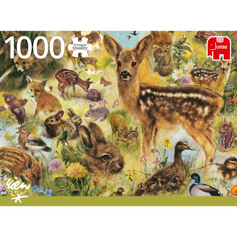 Jumbo puzzel Rien Poortvliet jonge dieren in het wild - 1000 stukjes