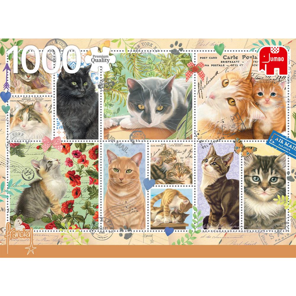 Jumbo puzzel kattenzegels - 1000 stukjes