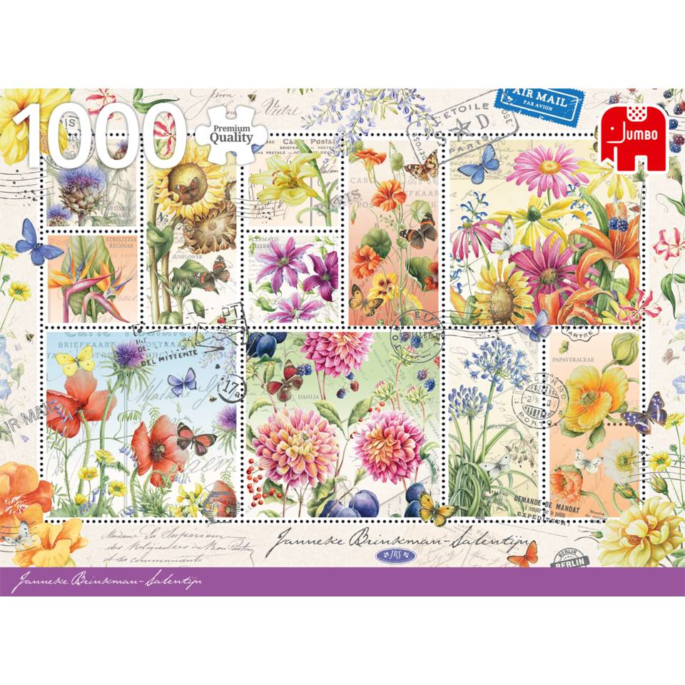 Jumbo puzzel Janneke Brinkman bloemenstempels - 1000 stukjes