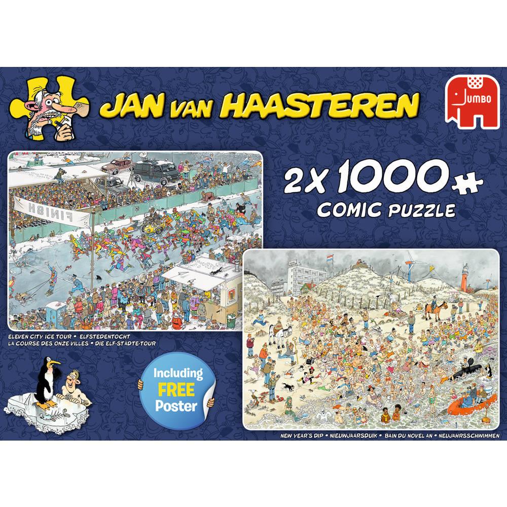 Jumbo Jan van Haasteren 2-in-1 puzzelset Winterpret - 2 x 1000 stukjes
