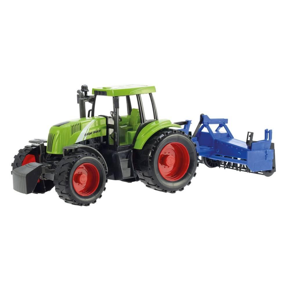 Frictie tractor met aanhanger in doos - groen/blauw