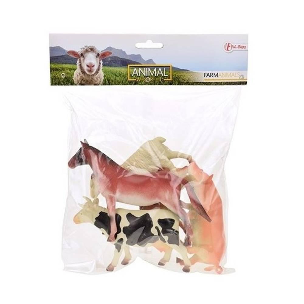 Animal World boerderijdieren in zak 5-delig