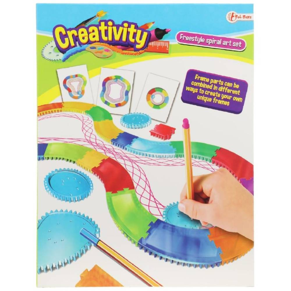 Creativity spiraal tekenbaan met papier en stiften