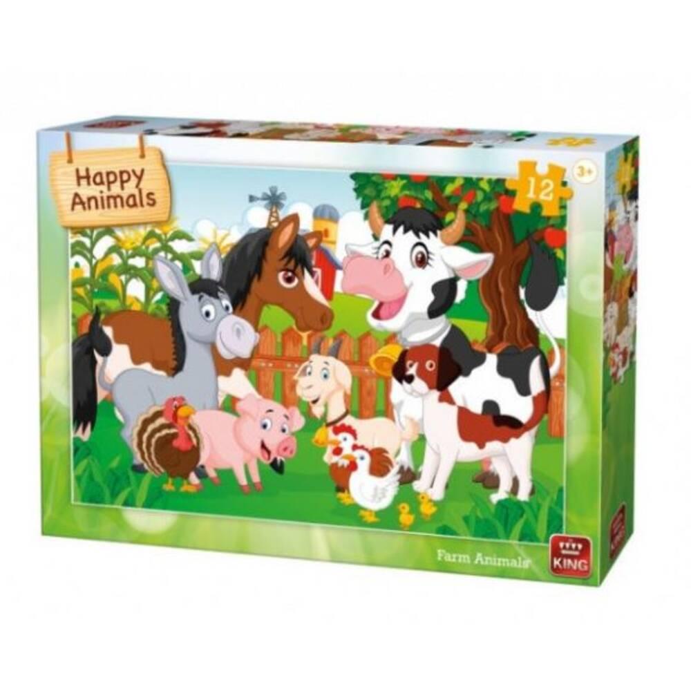 Happy Animals puzzel boerderijdieren - 12 stukjes