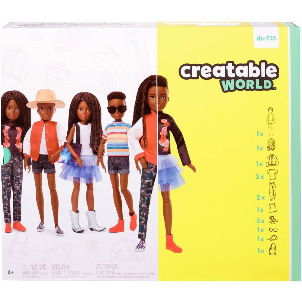 Creatable World deluxe pop met zwart gevlochten haar - 30 cm