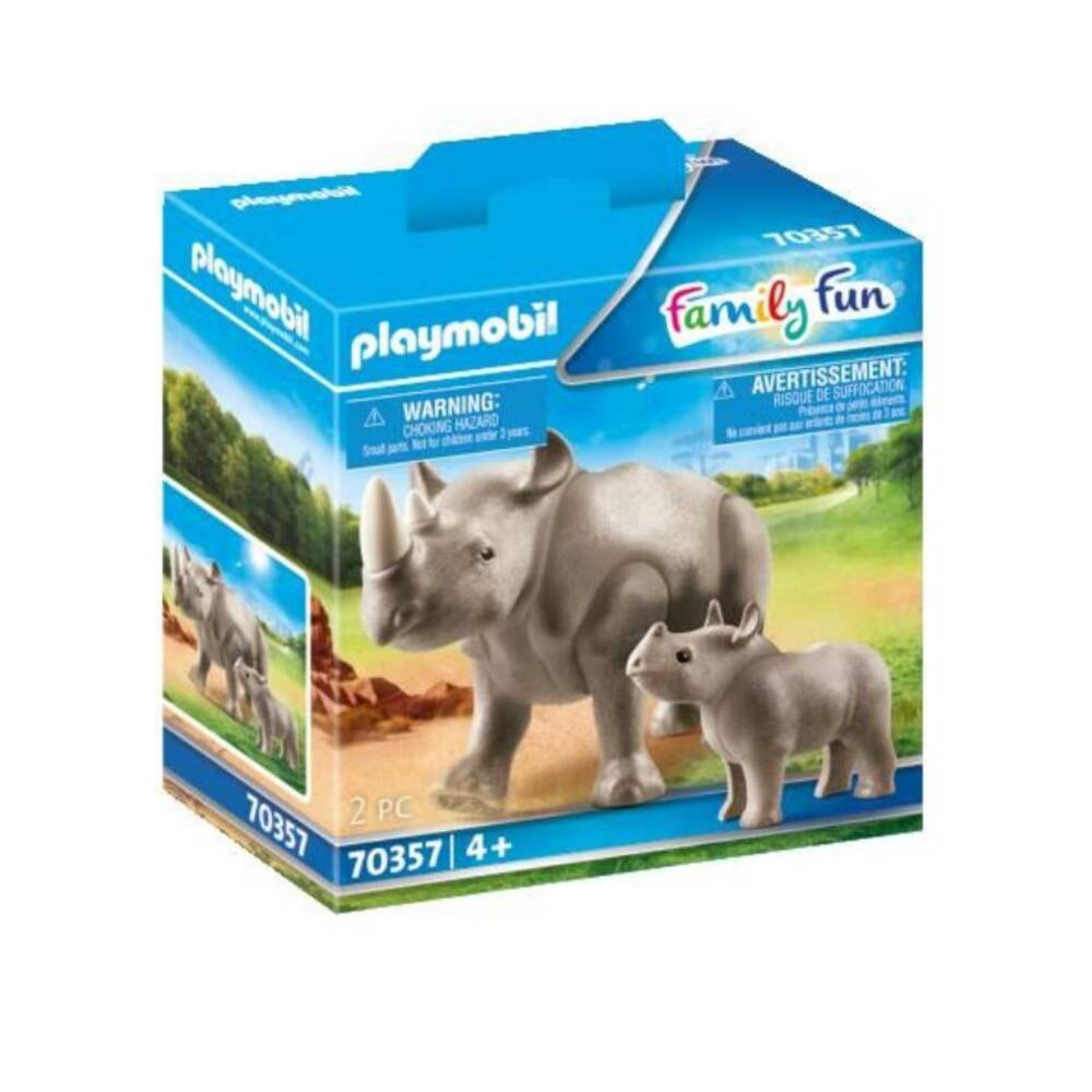 PLAYMOBIL Family Fun neushoorn met baby 70357