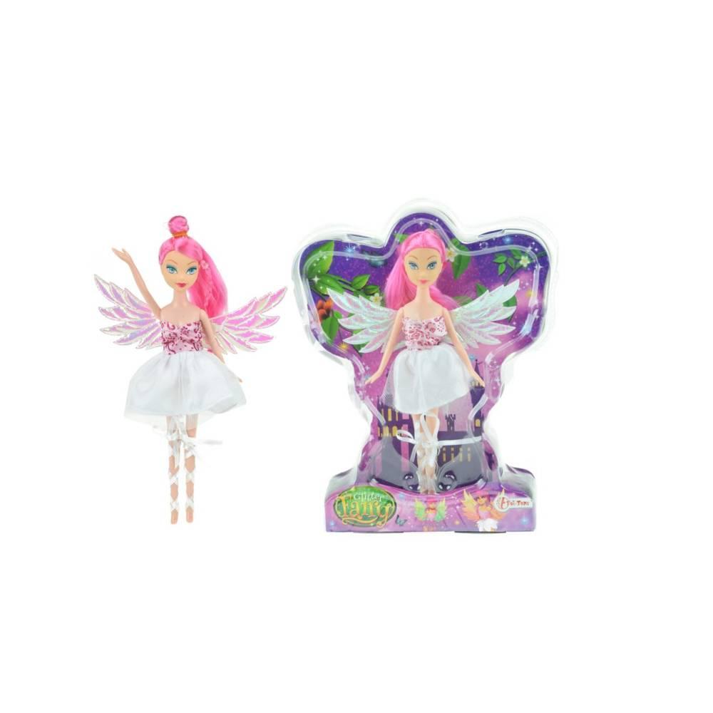 Fee pop met glittervleugels - 22 cm - wit