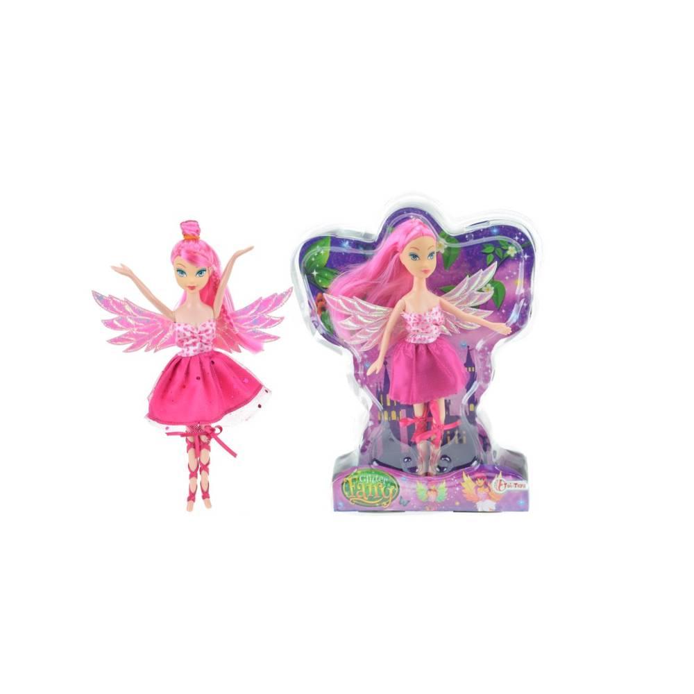 Fee pop met glittervleugels - 22 cm - roze