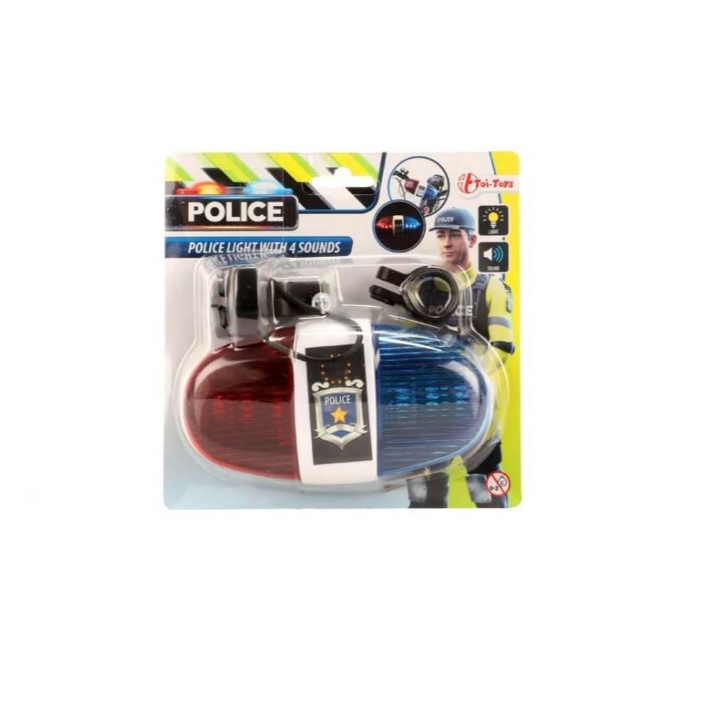 Politie zwaailicht met geluid voor fiets