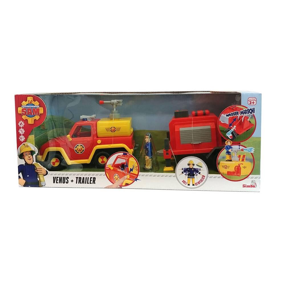 Simba Brandweerman Sam Venus met aanhangwagen