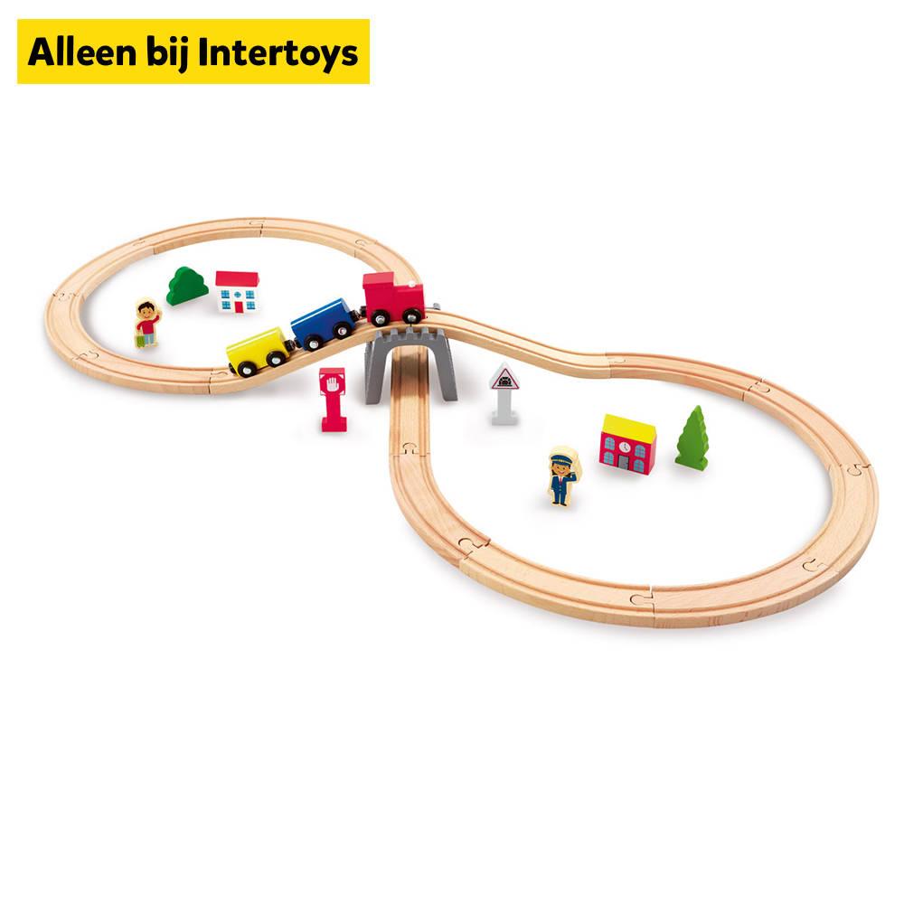 Houten treinset 30-delig