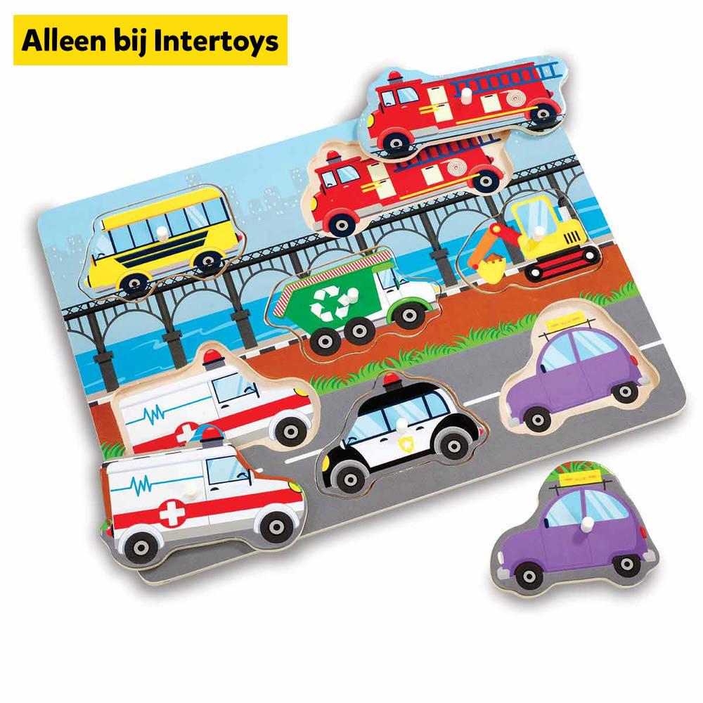 Houten puzzel voertuigen - 7 stukjes