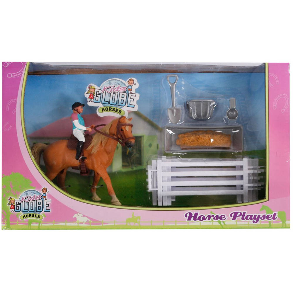 KidsGlobe speelset paard met ruiter en accessoires