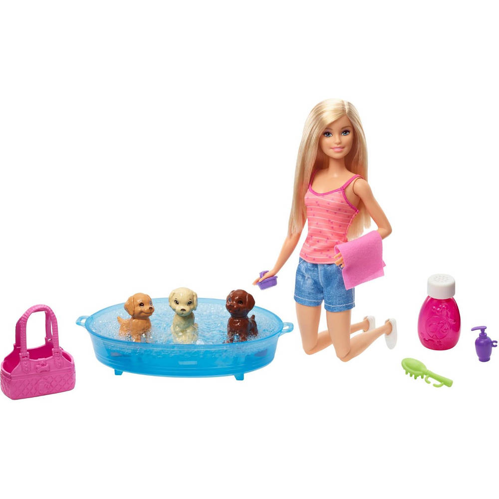 Barbie puppy badtijd speelset