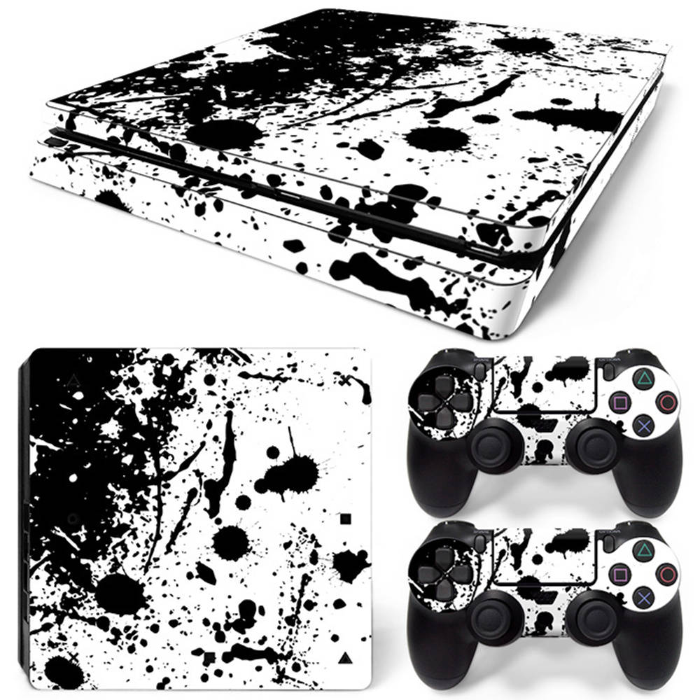 PS4 Slim skin Splatter Black White