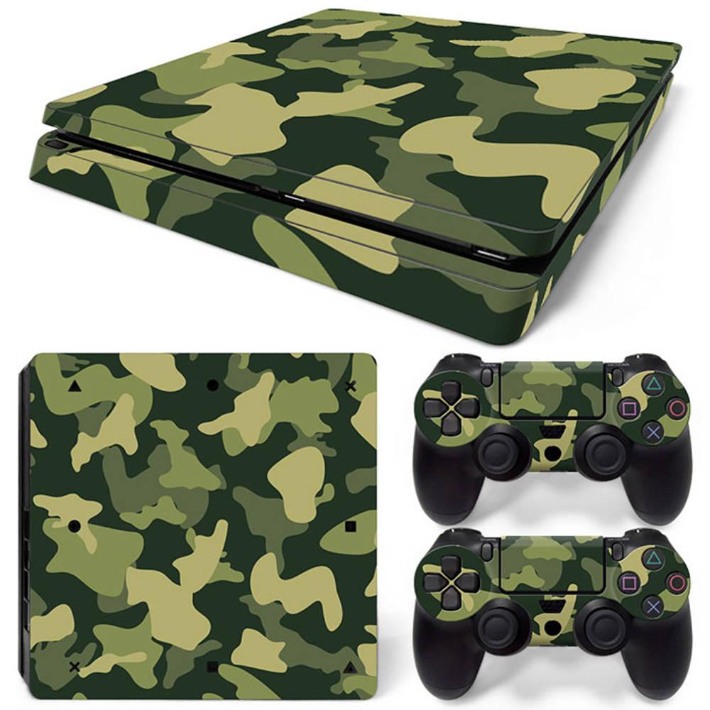 PS4 Slim skin Army Camo Green
