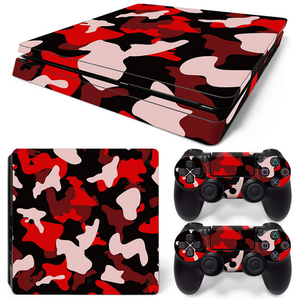 PS4 Slim skin Army Camo Red