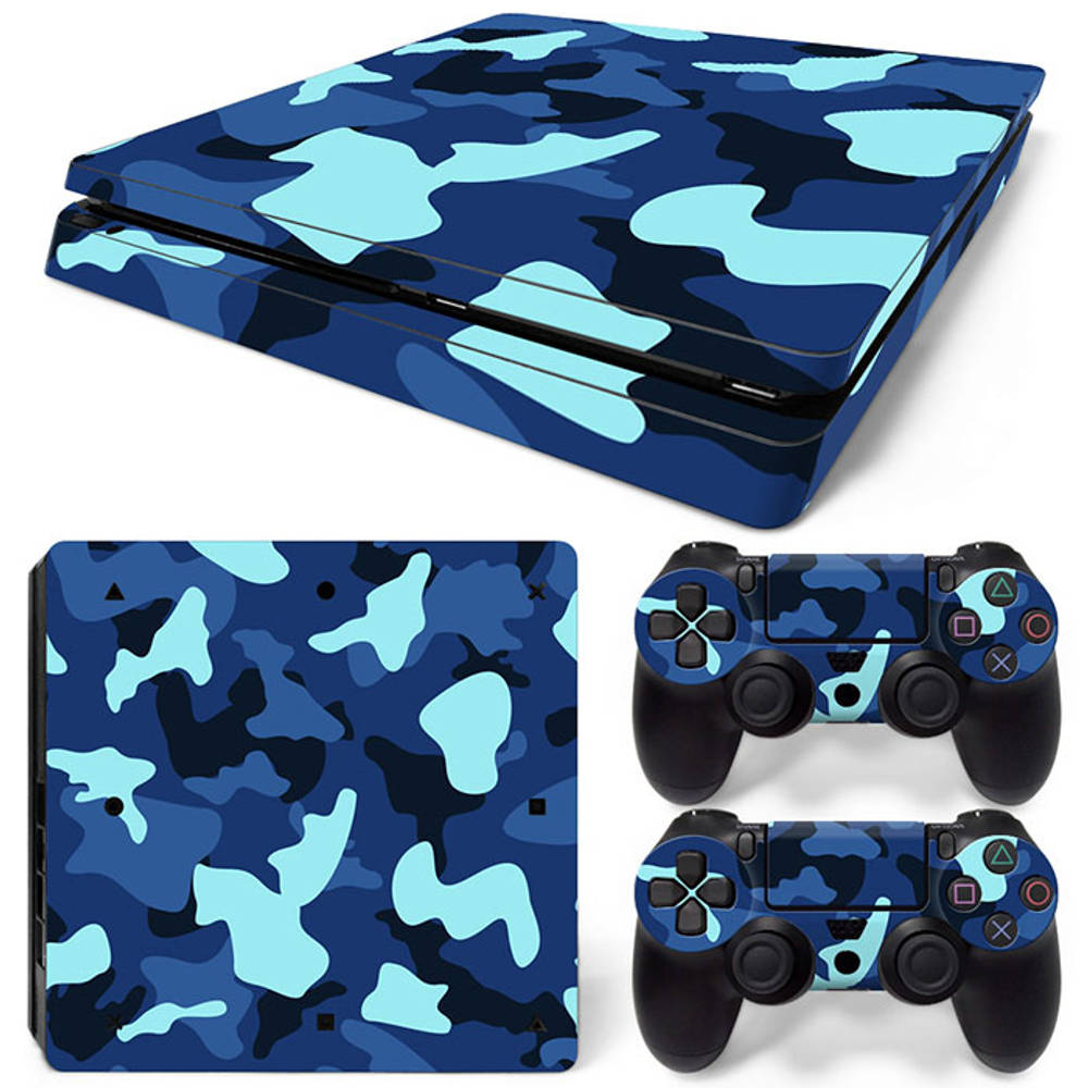 PS4 Slim skin Army Camo Blue