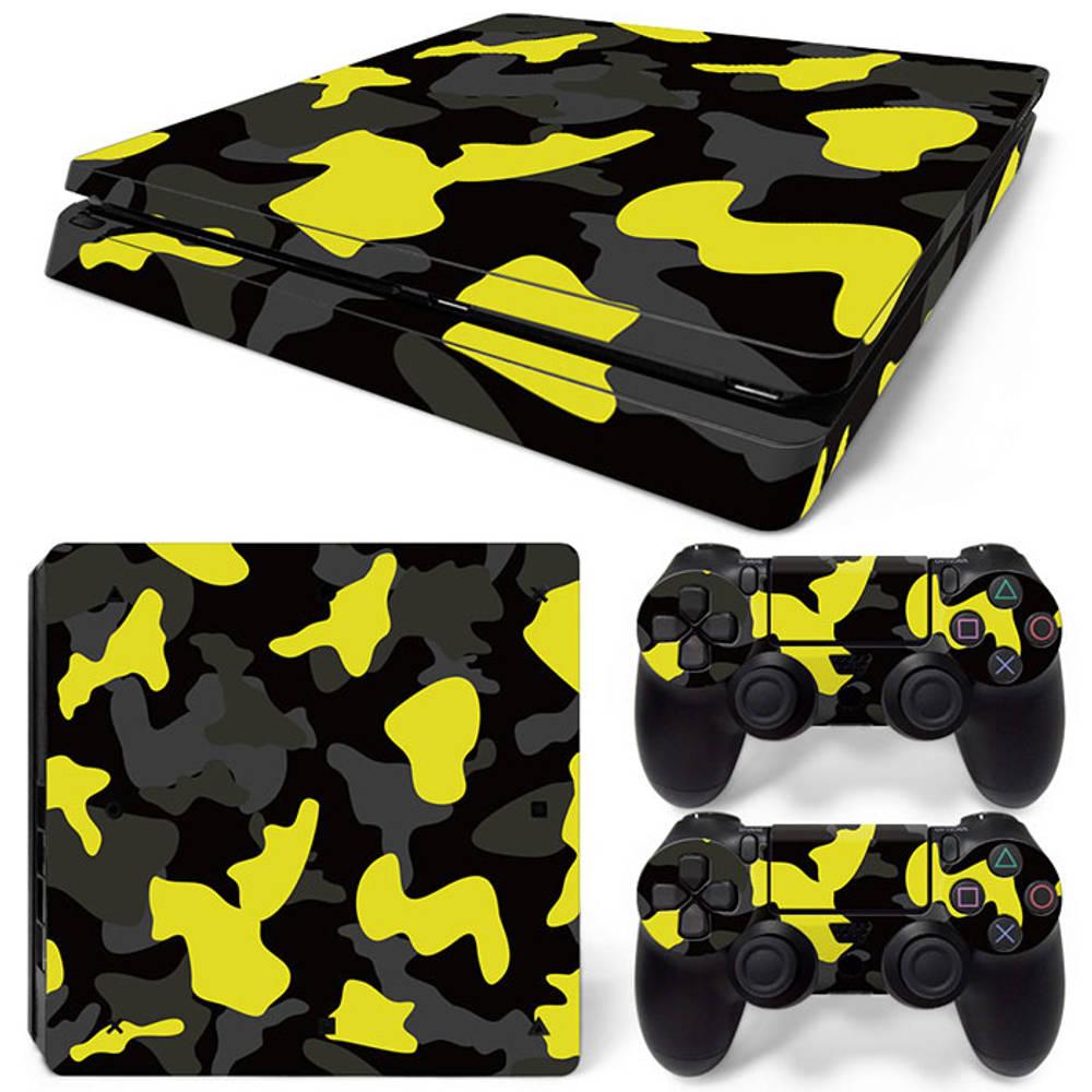 PS4 Slim skin Army Camo Yellow