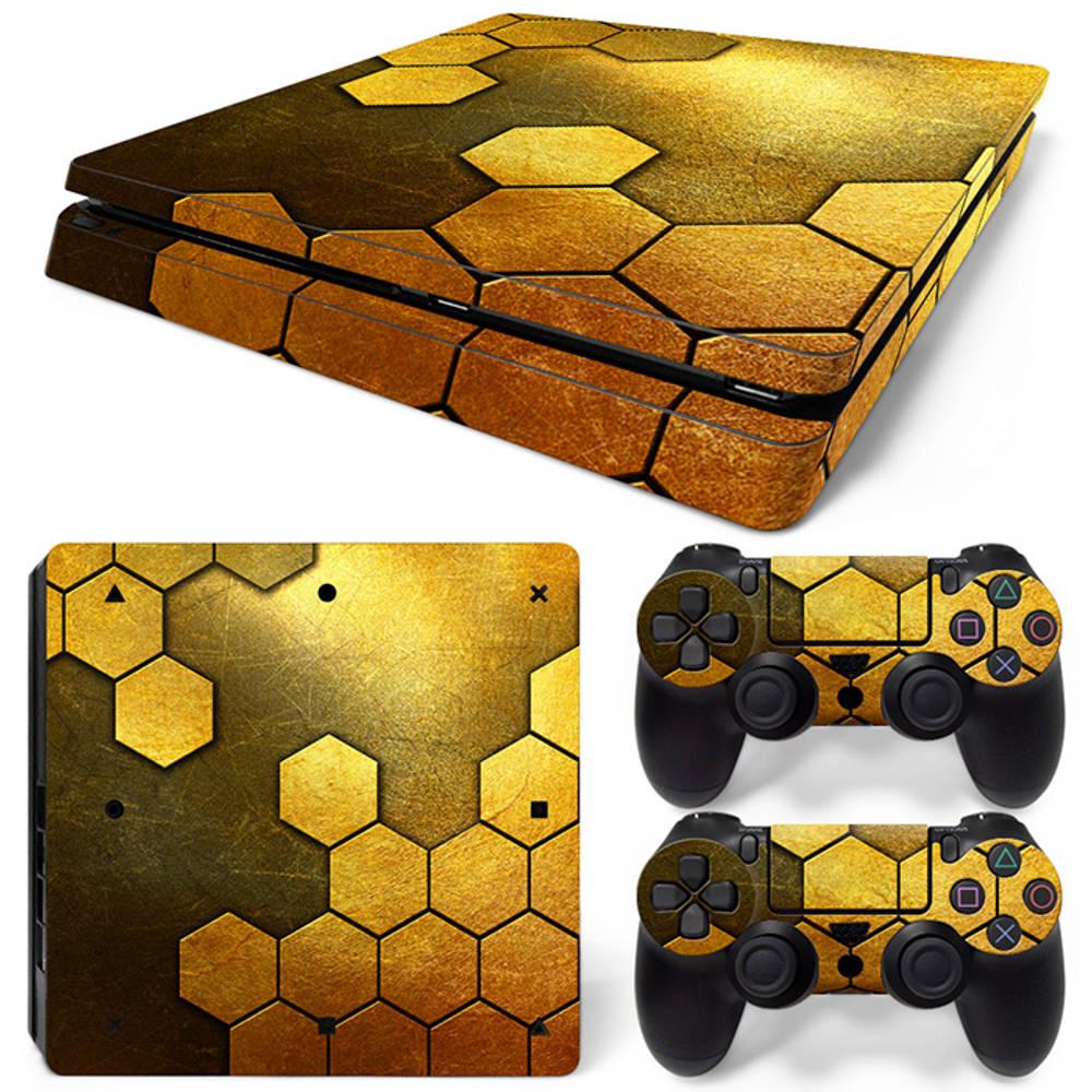 PS4 Slim skin Steel Gold