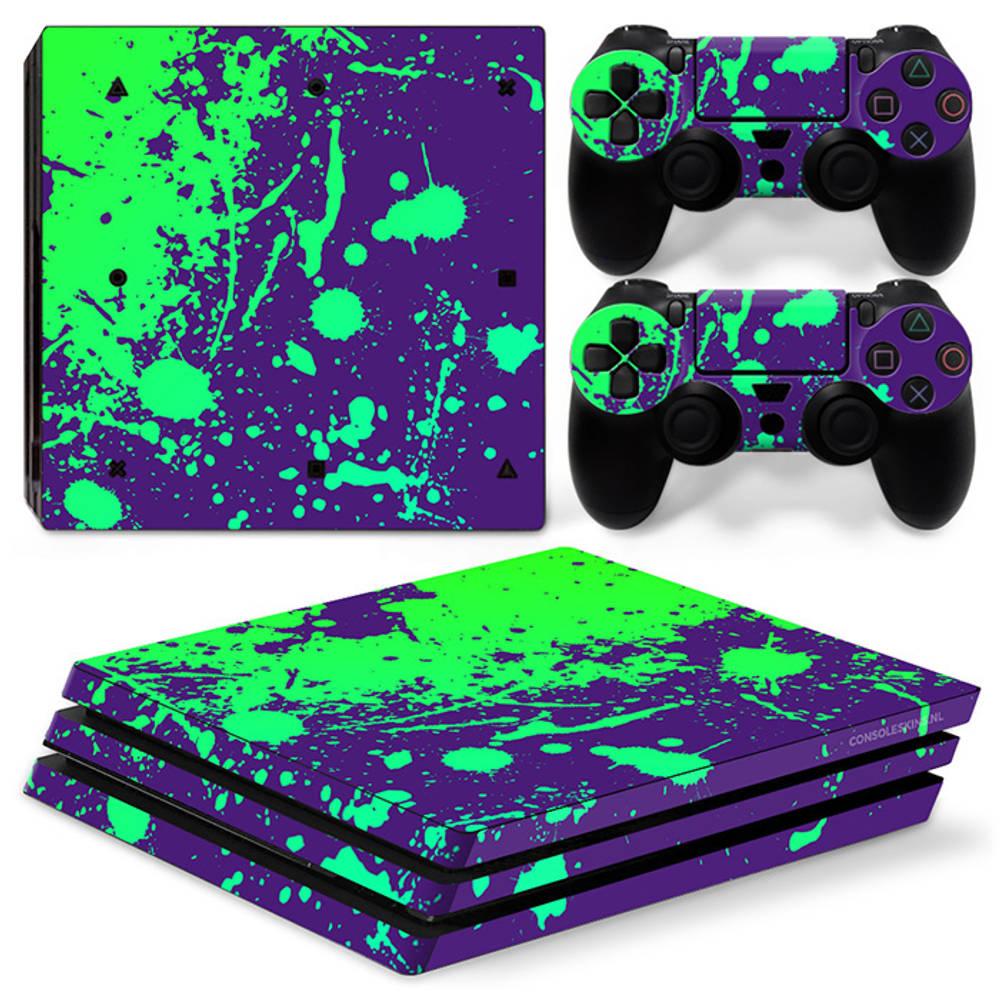 PS4 Pro skin Splatter Purple Lime