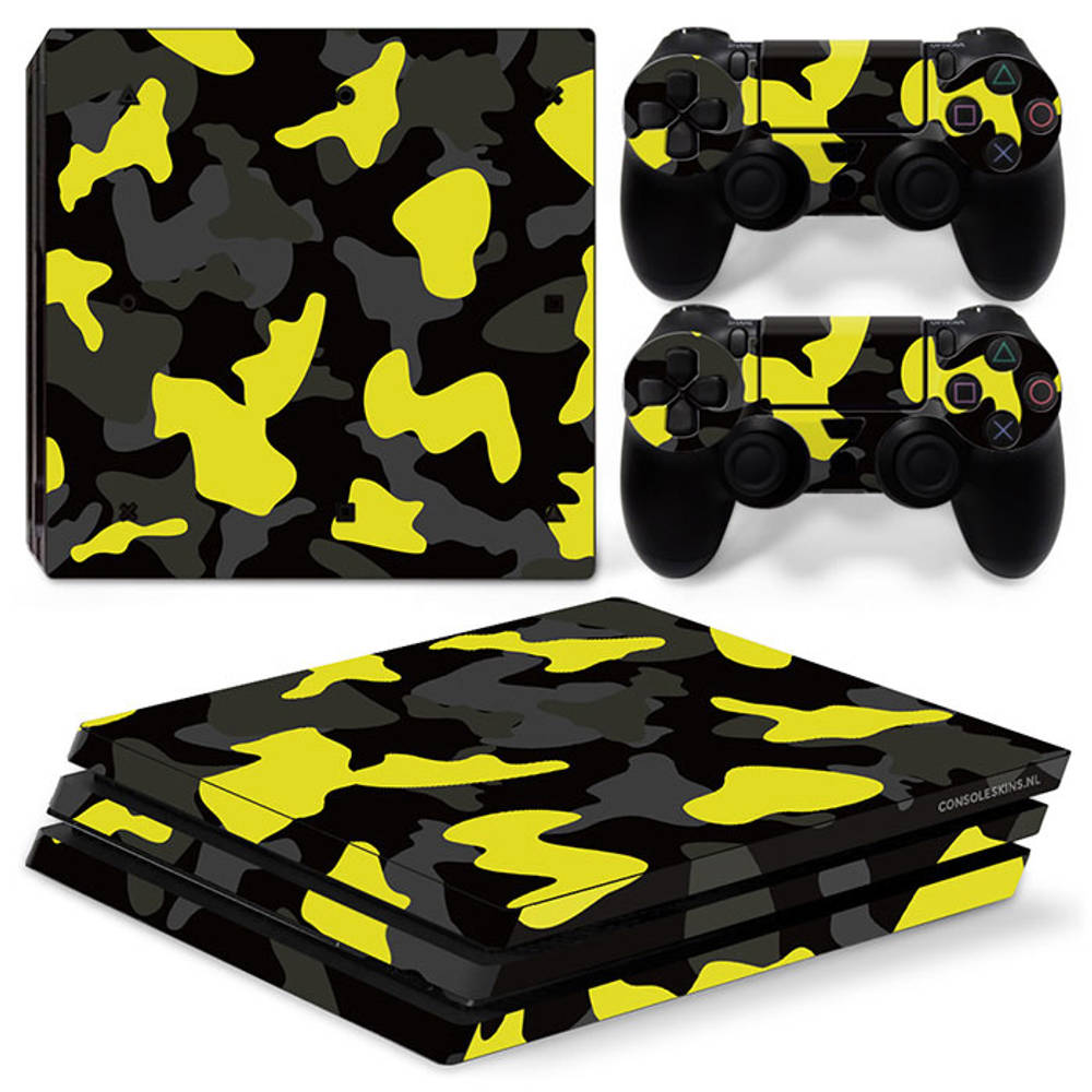 PS4 Pro skin Army Camo Yellow