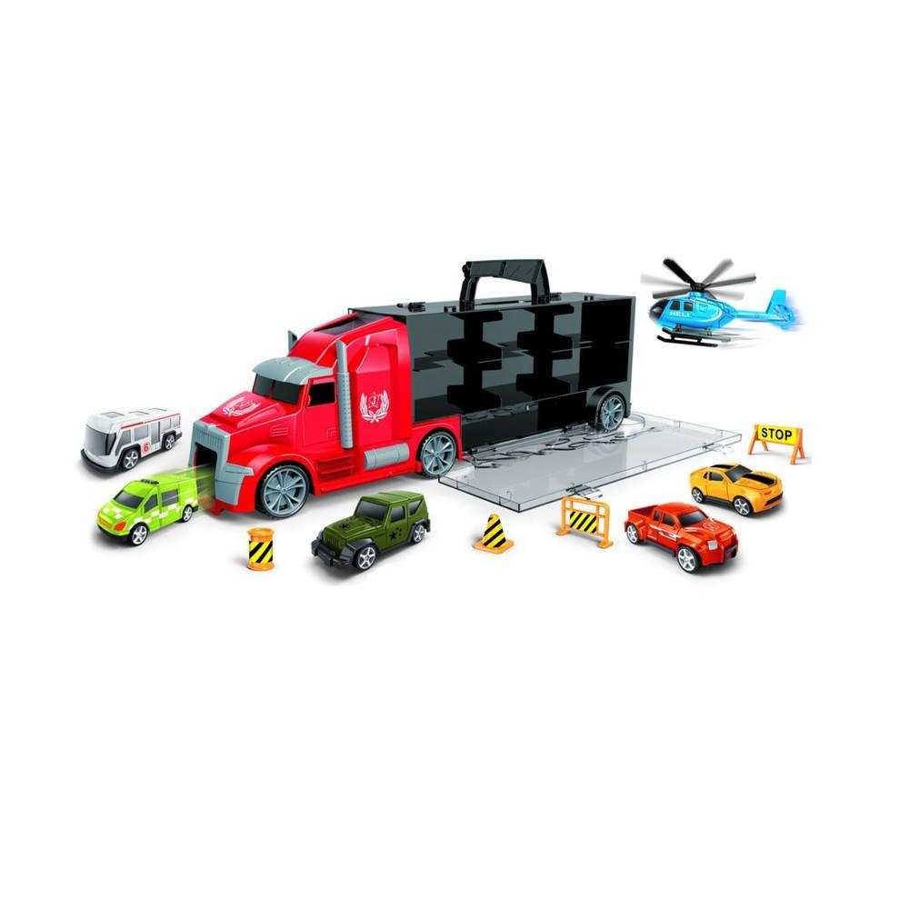 Vrachtwagen met 5 auto's + 1 vliegtuig
