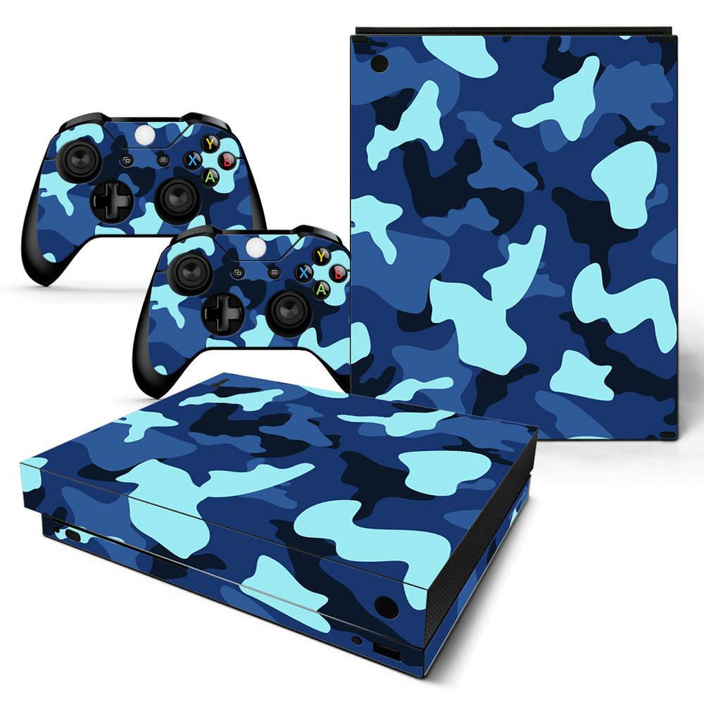 Xbox One X skin Army Camo Blue