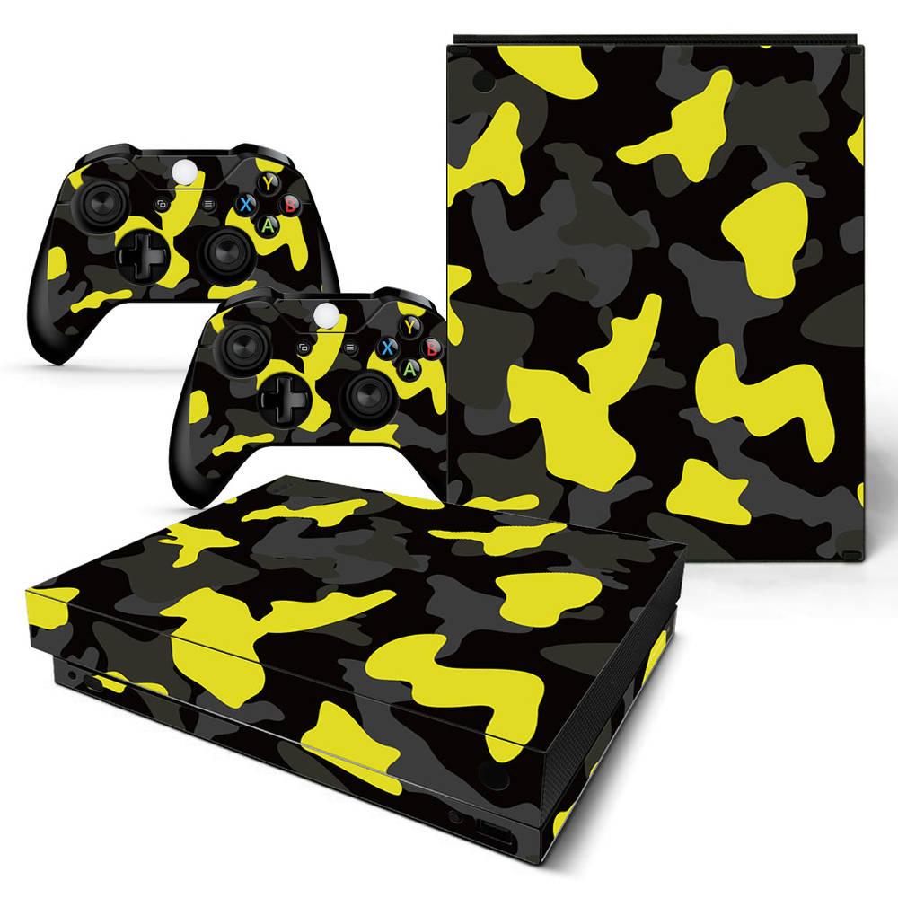 Xbox One X skin Army Camo Yellow