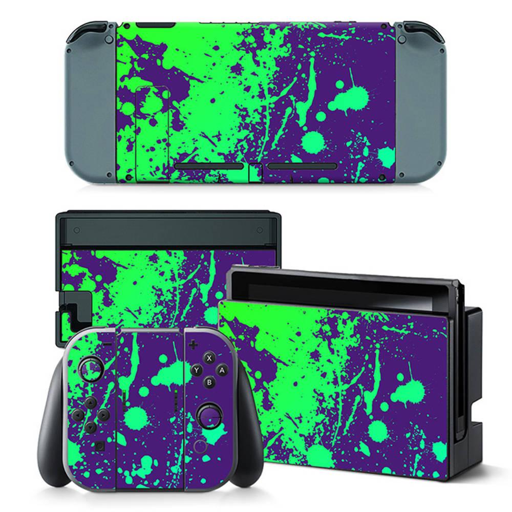 Nintendo Switch skin Splatter Purple Lime
