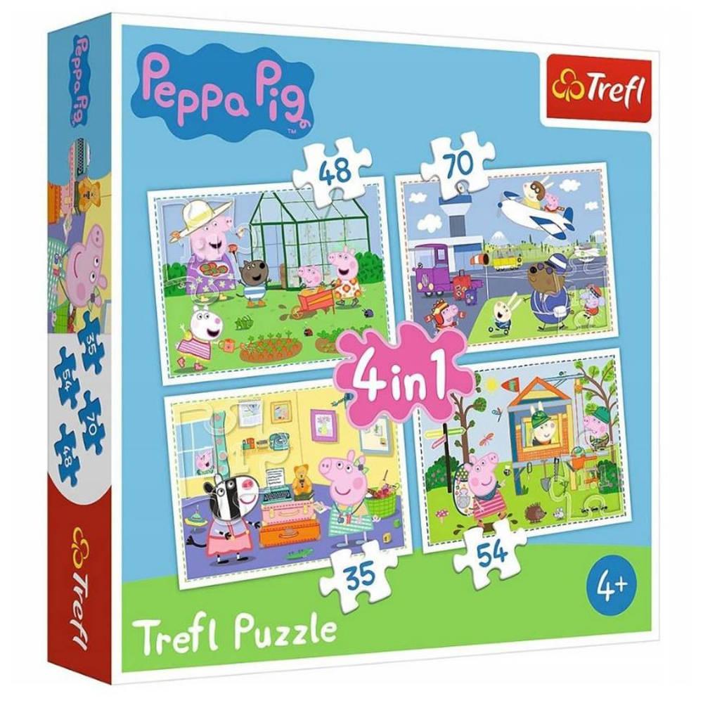 Peppa Pig vakantie herinneringen 4-in-1 puzzelset - 35 + 48 + 54 + 70 stukjes