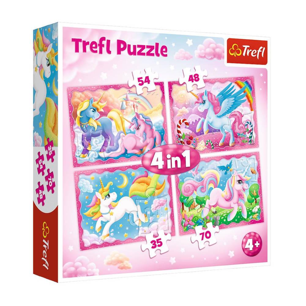 Wereld van eenhoorns 4-in-1 puzzelset - 35 + 48 + 54 + 70 stukjes
