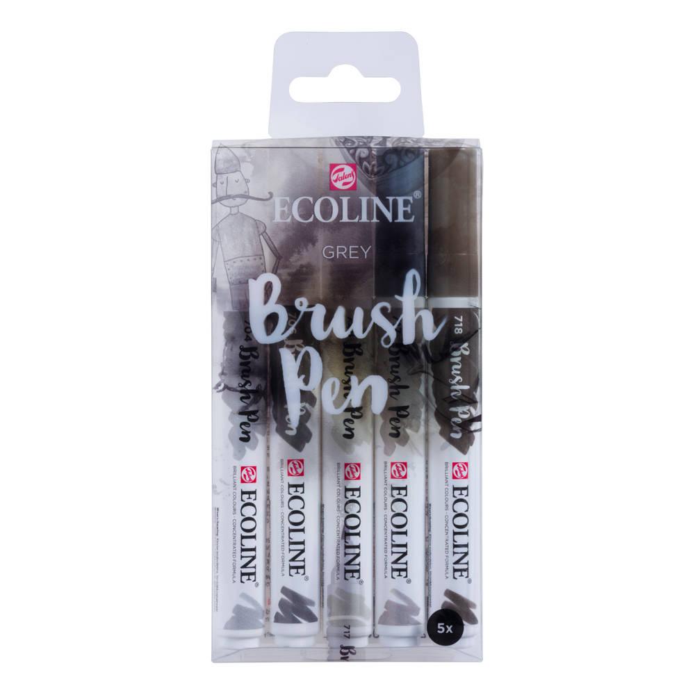 Talens Ecoline penseelstiften - 5 stuks - grijs