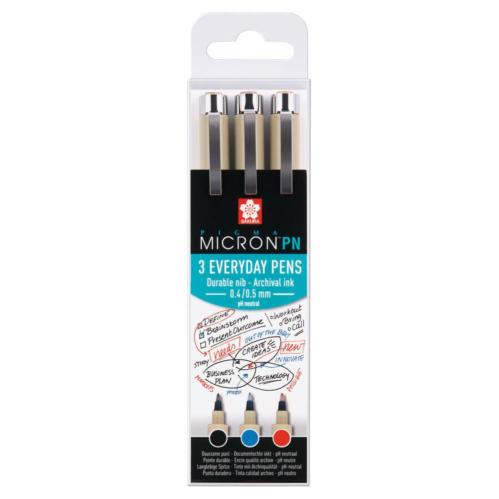 Sakura Pigma Micron PN pennen - 3 stuks - assorti