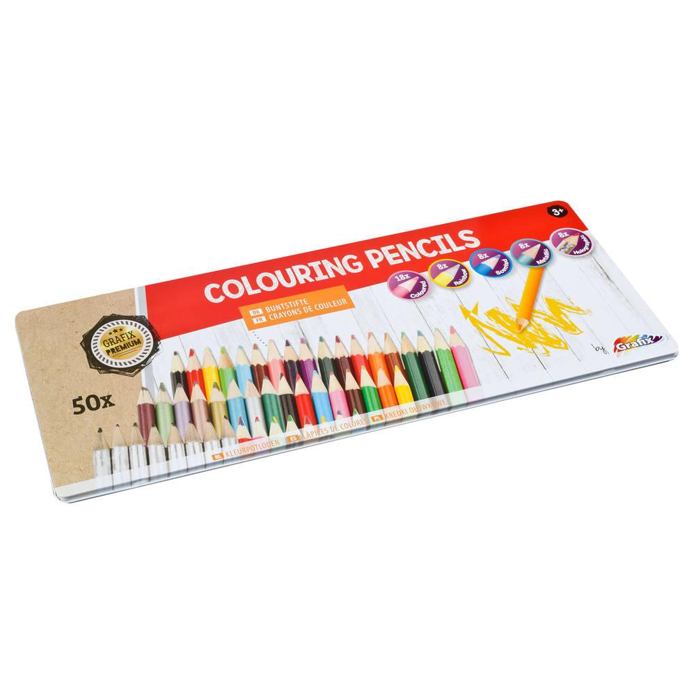 Kleurpotlodenset in blik - 50 stuks