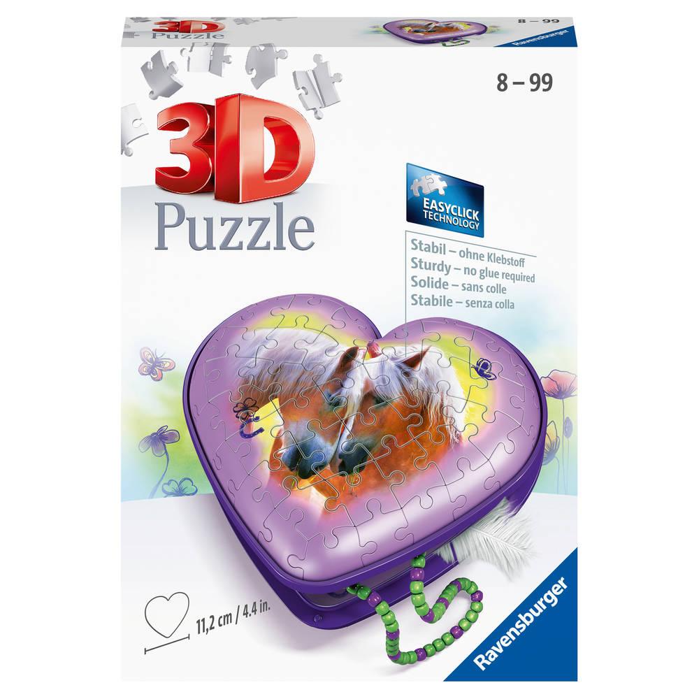 Ravensburger 3D puzzel paarden hartendoosje - 54 stukjes