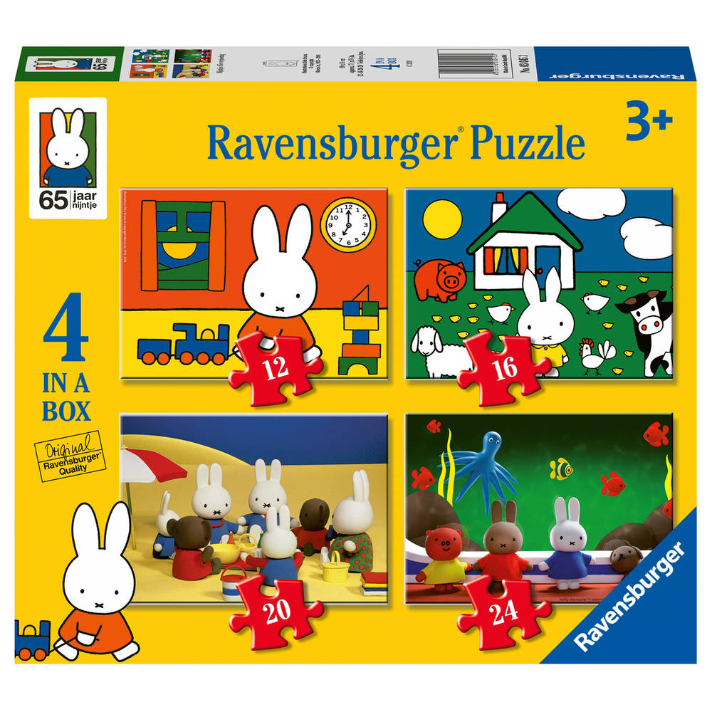 Ravensburger Nijntje 4-in-1 puzzelset Nijntjes verjaardag - 12 + 16 + 20 + 24 stukjes