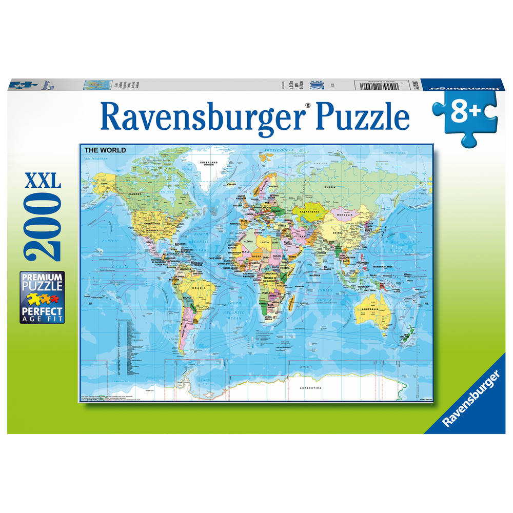 Ravensburger XXL puzzel wereldkaart - 200 stukjes