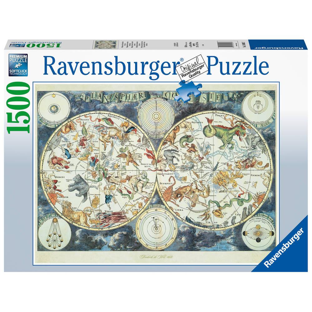 Ravensburger puzzel wereldkaart met fantasierijke dieren - 1500 stukjes