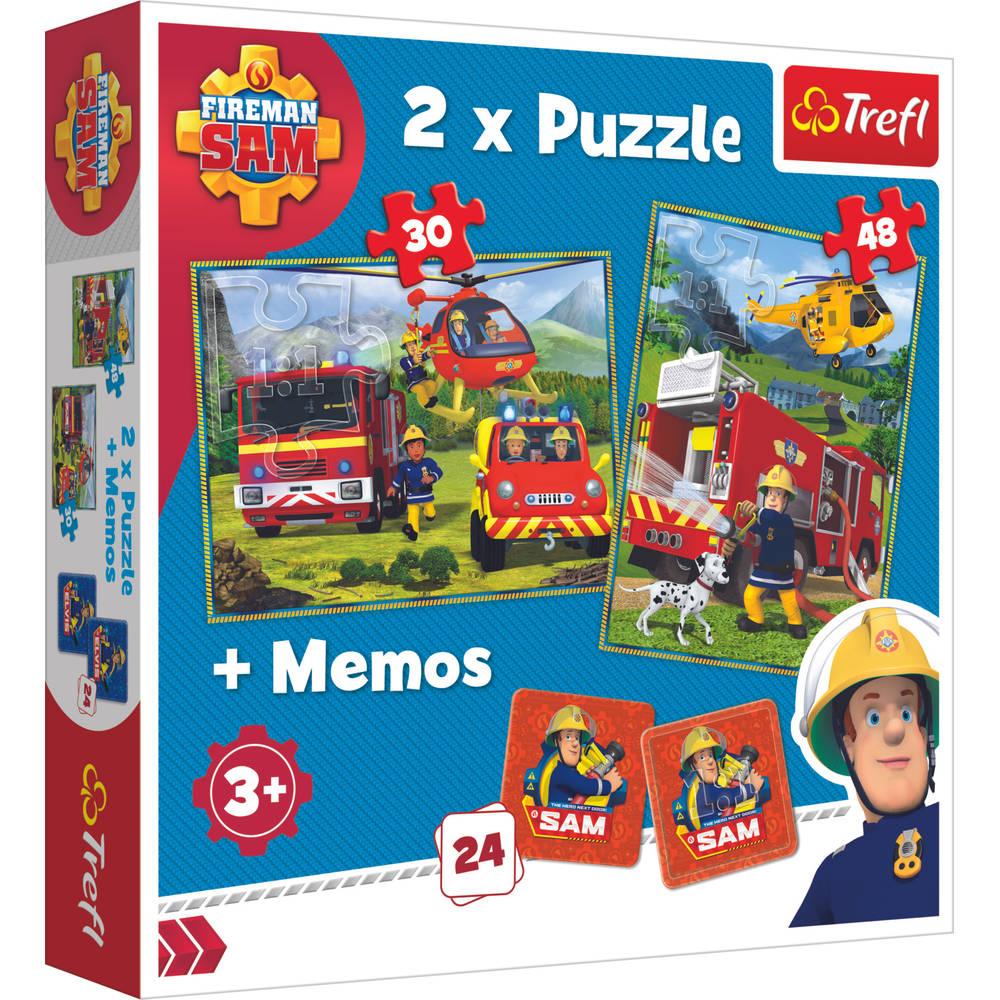 Trefl Brandweerman Sam 3-in-1 set puzzels memo - 30 + 48 stukjes