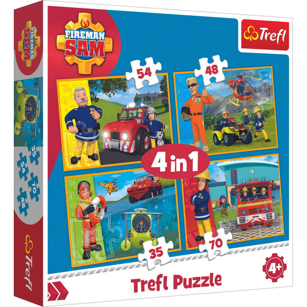 Trefl Brandweerman Sam 4-in-1 puzzelset to the rescue - 35 + 48 + 54 + 70 stukjes