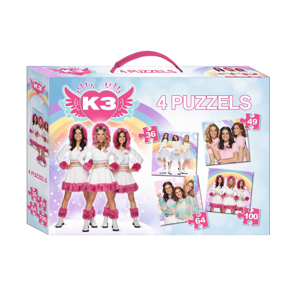K3 puzzeldoos 4-delig - 36 + 49 + 64 + 100 stukjes