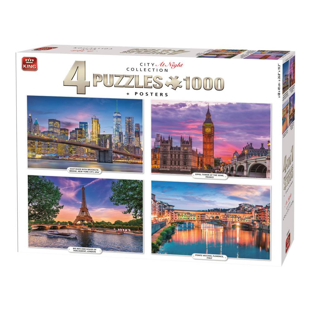 King International puzzel City at night - 4 x 1000 stukjes