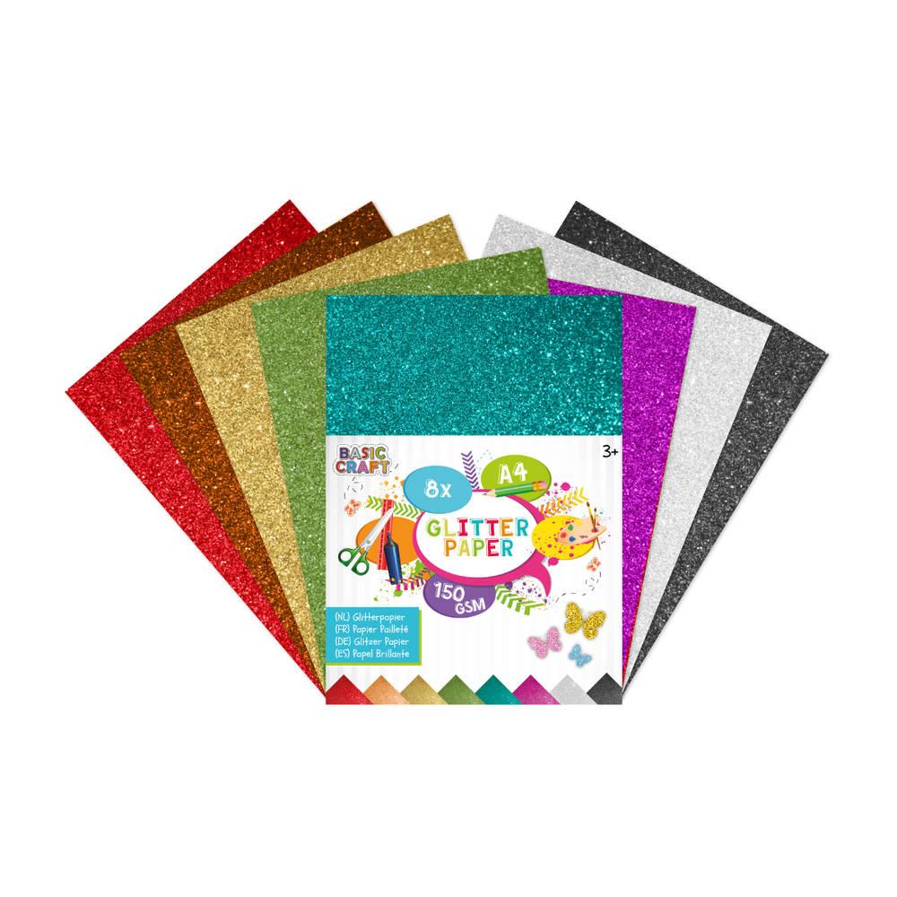 Glitterpapier A4 - 8 vellen