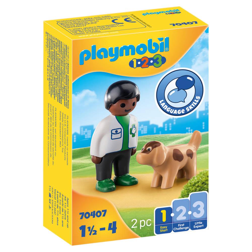 PLAYMOBIL 1.2.3 dierenarts met hond 70407