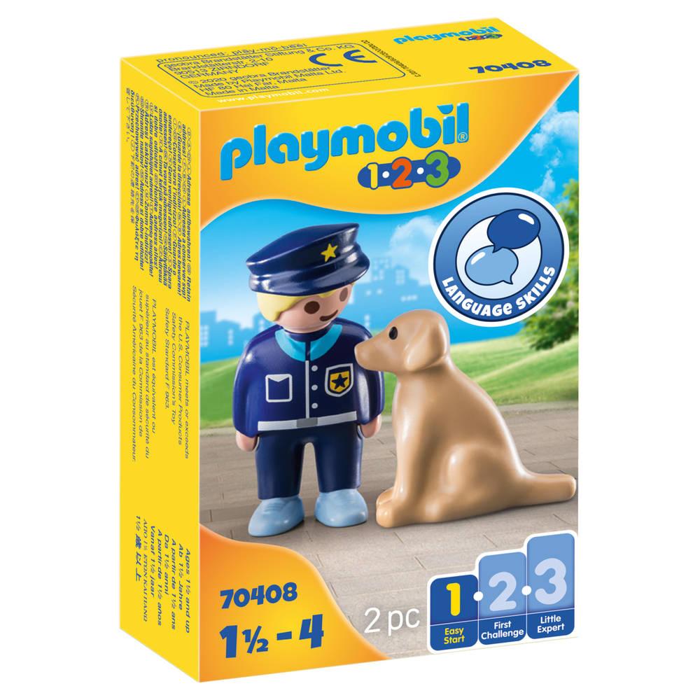 PLAYMOBIL 1.2.3 politieman met hond 70408
