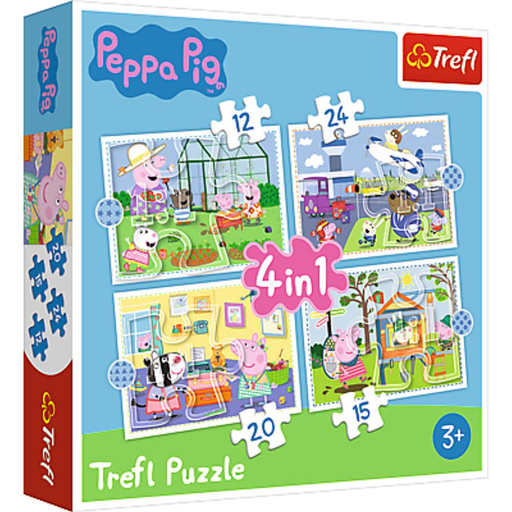 Puzzel Peppa pig vakantie 4-in-1 puzzelset - 12 + 15 + 20 + 24 stukjes